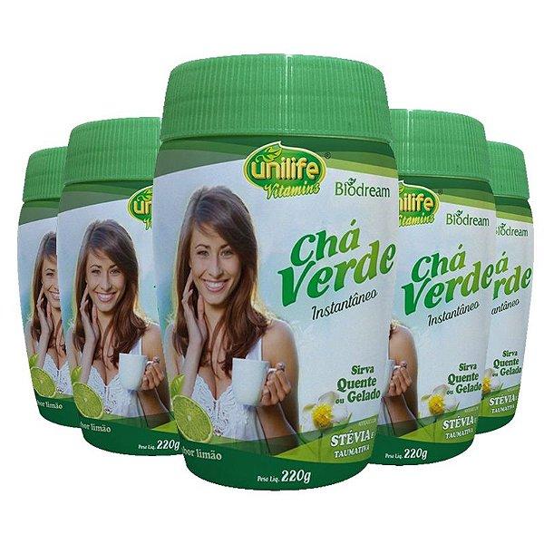 Kit 5 Chá verde Sóluvel 220g sabor Limão Unilife