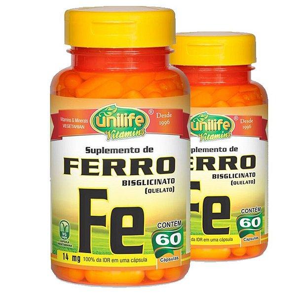 Kit 2 Ferro Quelato FE 14mg 60 cápsulas Unilife
