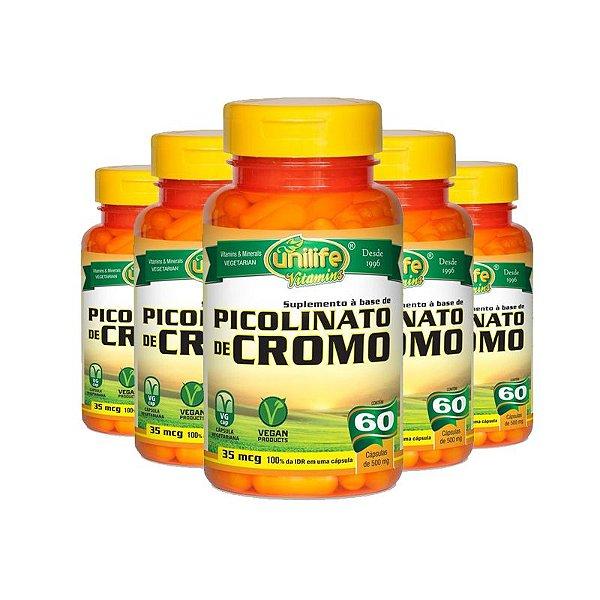 Kit 5 Picolinato de Cromo Unilife 60 cápsulas