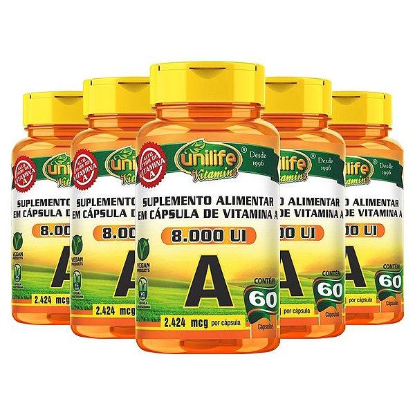 Kit 5 Vitamina A Retinol 60 cápsulas Unilife