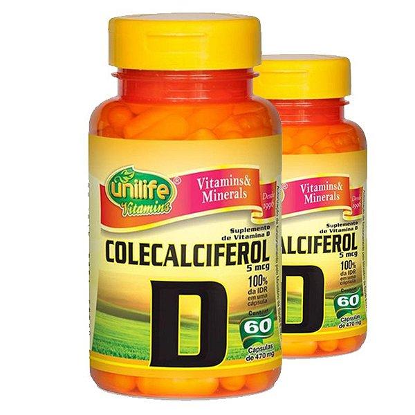 Kit 2 Vitamina D Colecalciferol 60 cápsulas Unilife