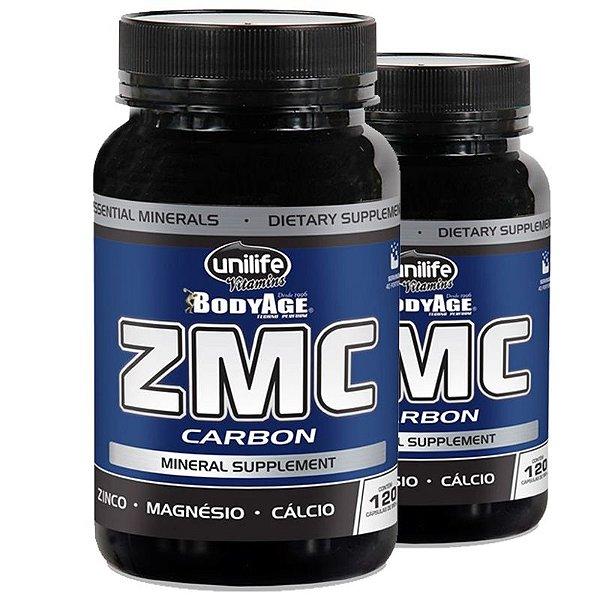 Kit 2 ZMC Carbon Cálcio, Zinco e Magnésio 120Caps Unilife
