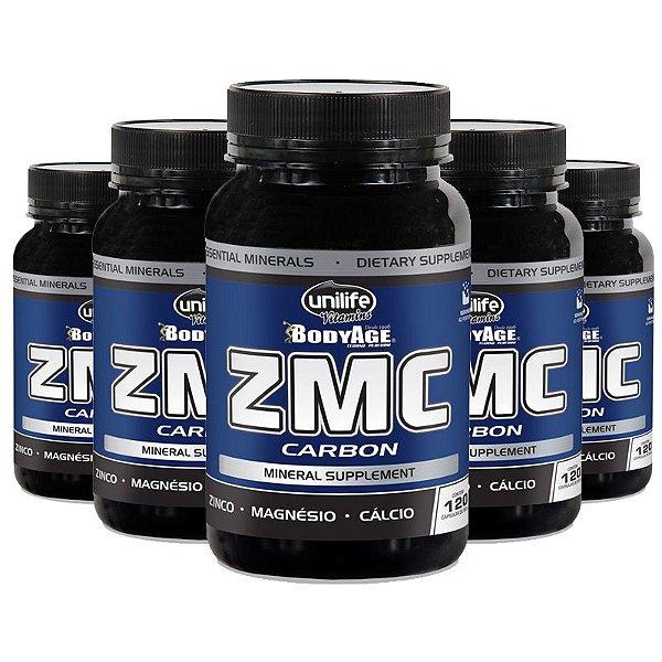 Kit 5 ZMC Carbon Cálcio, Zinco e Magnésio 120Caps Unilife