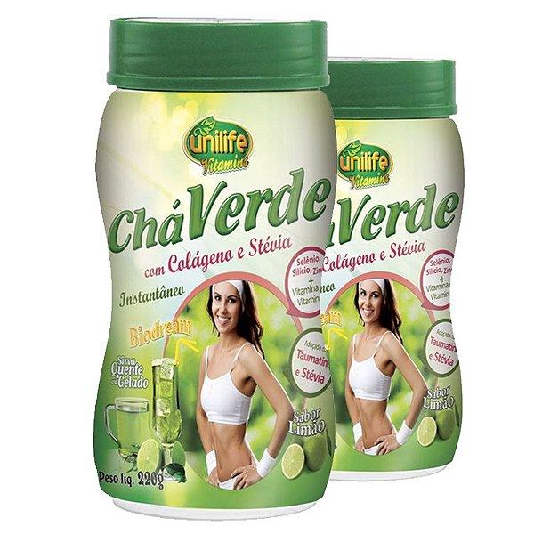 Kit 2 Chá verde com colágeno e stévia 220g Limão Unilife