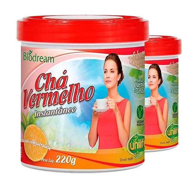 Kit 2 Chá vermelho sóluvel 220g sabor Tangerina Unilife