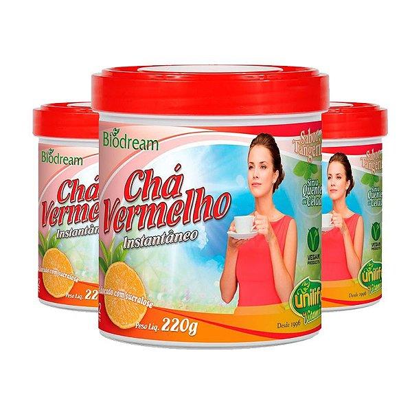 Kit 3 Chá vermelho sóluvel 220g sabor Tangerina Unilife