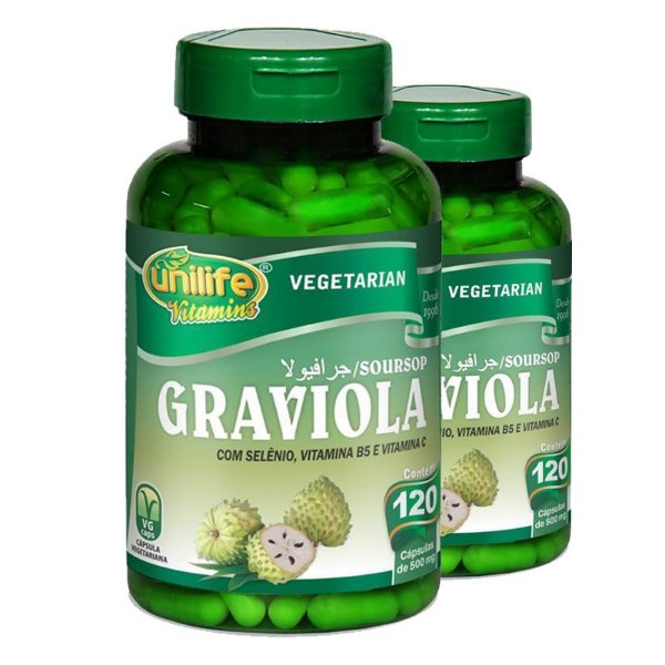 Kit 2 Graviola 560MG Unilife 120 Cápsulas