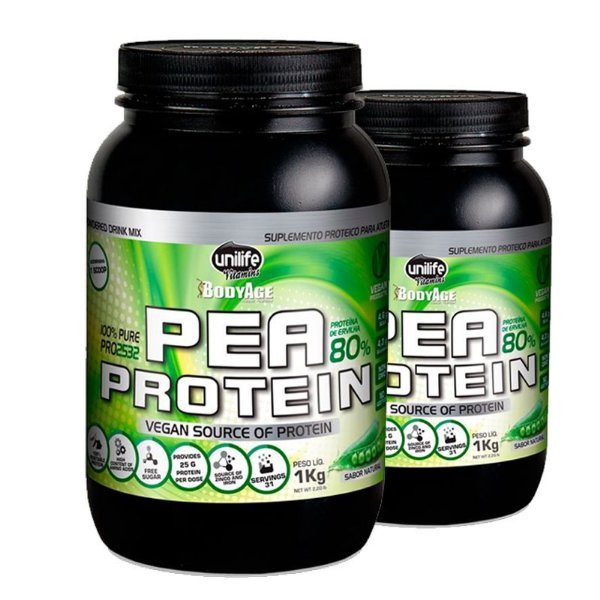 Kit 2 Pea Protein 1kg Proteína vegetal Unilife natural