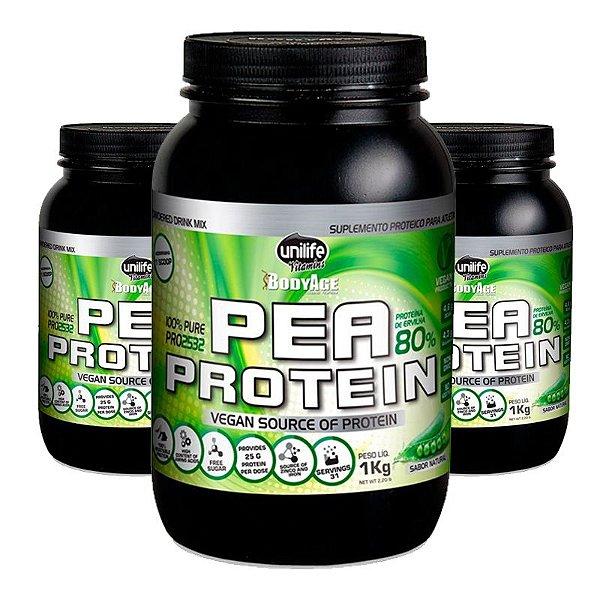 Kit 3 Pea Protein 1kg Proteína vegetal Unilife natural