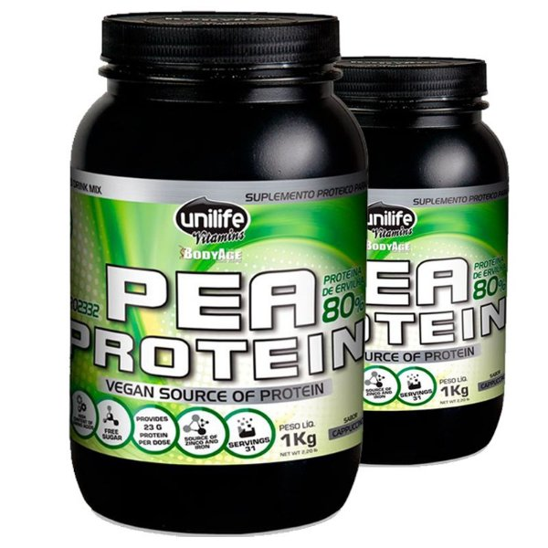 Kit 2 Pea Protein Proteina de Ervilha Unilife 1kg Cappucino