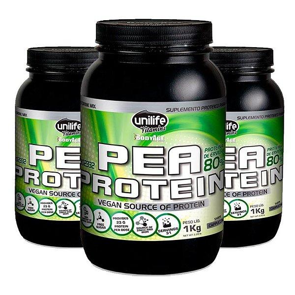 Kit 3 Pea Protein Proteina de Ervilha Unilife 1kg Cappucino