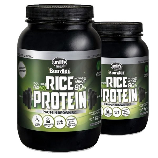 Kit 2 Rice Protein 1kg Proteína vegetal Unilife natural