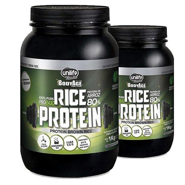 Kit 2 Rice Protein 1kg Proteína vegetal Unilife natural