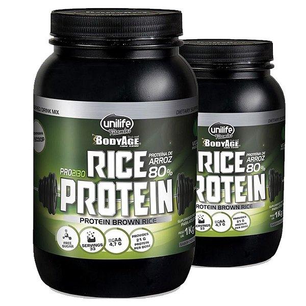 Kit 2 Rice Protein Proteína de Arroz Unilife 1kg Chocolate