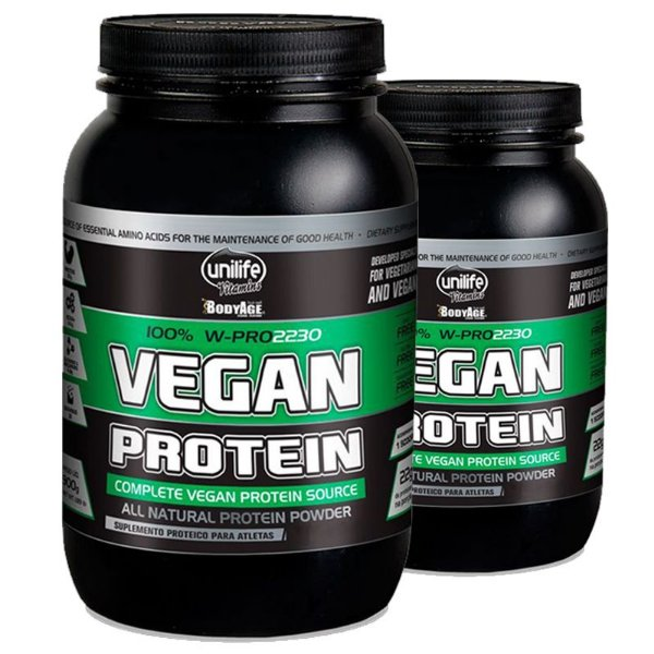 Kit 2 Vegan Protein 900g Proteína vegetal Unilife Morango
