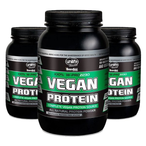 Kit 3 Vegan Protein 900g Proteína vegetal Unilife Morango
