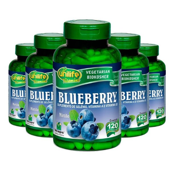 Kit 5 Blueberry Unilife 120 Cápsulas