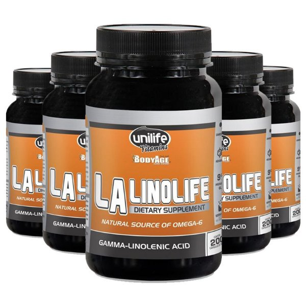Kit 5 Óleo de Prímula Linolife LA 200 cápsulas Unilife