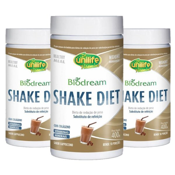 Kit 3 Shake Diet Biodream 400g Sabor Cappucino Unilife