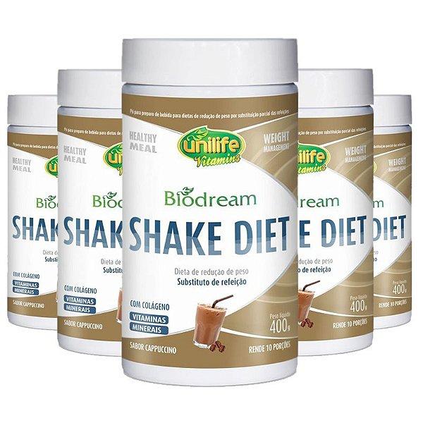 Kit 5 Shake Diet Biodream 400g Sabor Cappucino Unilife