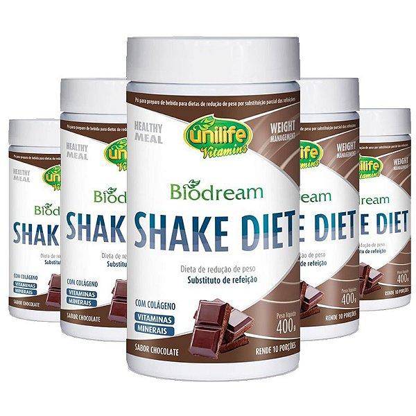 Kit 5 Shake Diet Biodream 400g Sabor Chocolate Unilife