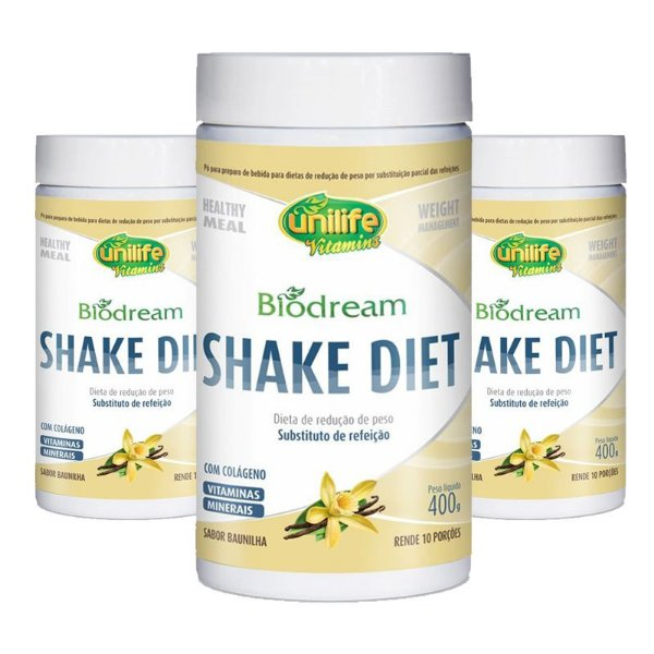 Kit 3 Shake Diet Biodream 400g Sabor  Baunilha Unilife