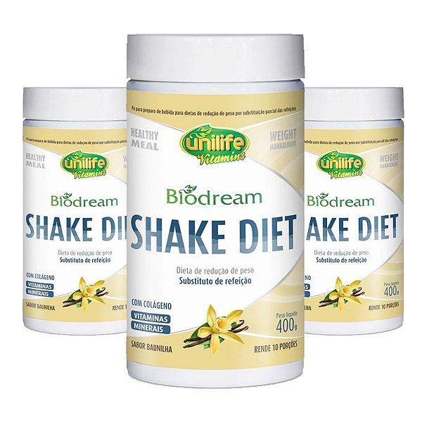 Kit 3 Shake Diet Biodream 400g Sabor  Baunilha Unilife
