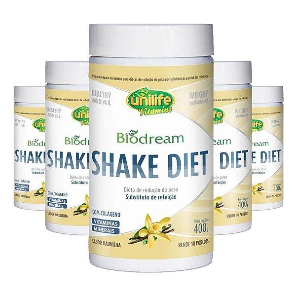 Kit 5 Shake Diet Biodream 400g Sabor  Baunilha Unilife