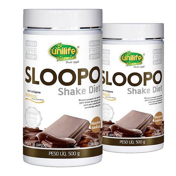 Kit 2 Sloopo Shake Diet com colageno  400g Sabor Chocolate Unilife