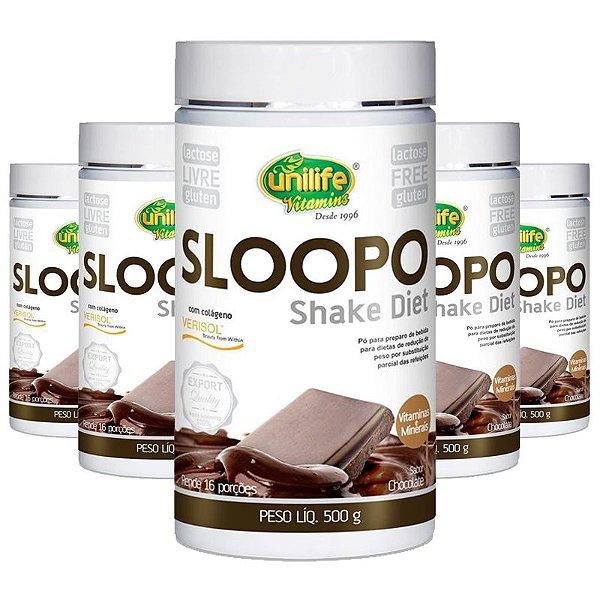Kit 5 Shake Diet com colageno  400g Sabor Chocolate Unilife