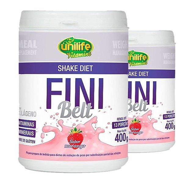Kit 2 Shake Diet com Colágeno Fini Belt Unilife 400g Morango