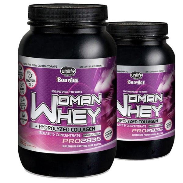 Kit 2 Whey Protein Woman c/ Colageno 900g Chocolate Unilife