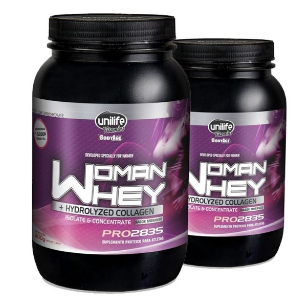 Kit 2 Whey Protein Woman c/ Colageno 900g Morango Unilife