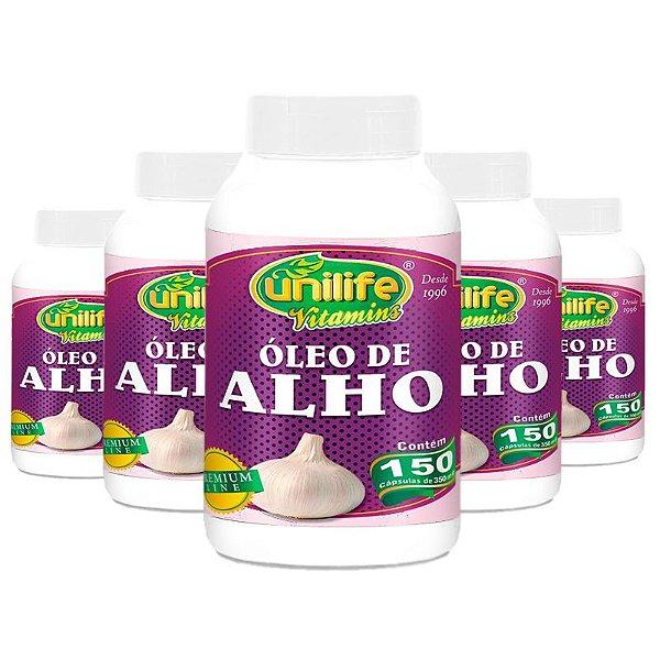 Kit 5 Óleo de Alho 350mg Unilife 150 cápsulas