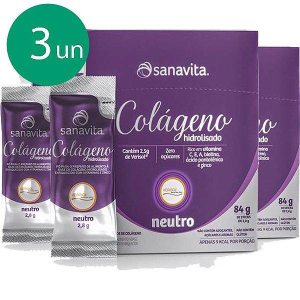 Kit 3 Colágeno hidrolisado VERISOL sabor neutro em 30 sachês