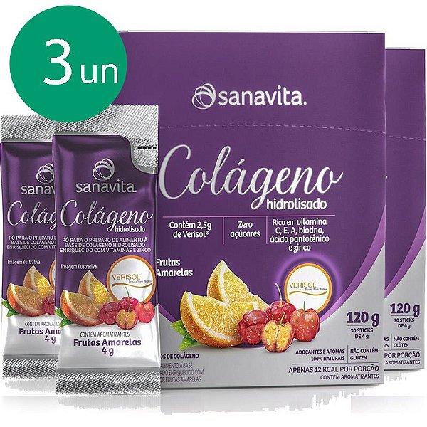 Kit 3 Colágeno hidrolisado VERISOL Frutas amarelas 30 sachês Sanavita