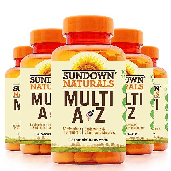 Kit 5 Multi A-Z Mix de vitaminas e minerais Sundown 120 cápsulas