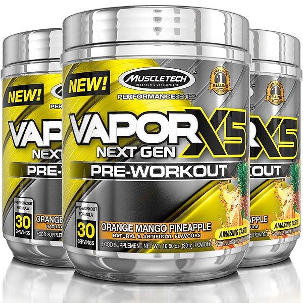 Kit 3 Vapor X5 Pré treino da Muscletech 30 doses - Frutas cítricas