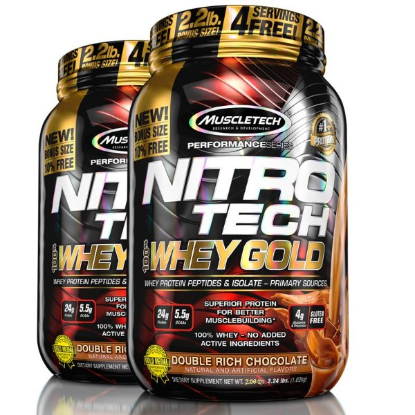 Kit 2 Nitro tech Whey Protein Gold Muscletech 997g Chocolate