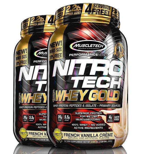 Kit 2 Nitro tech Whey Protein Gold Muscletech 997g Baunilha