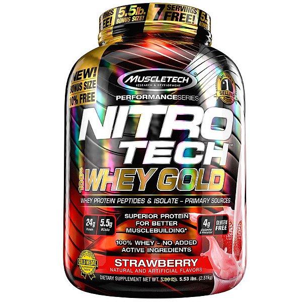 Nitro tech Whey Protein Gold Muscletech 2,5kg Morango