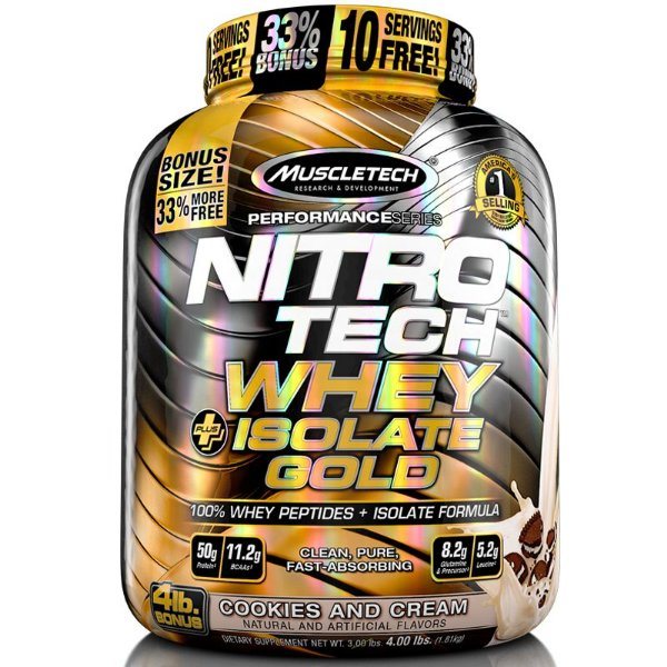 Nitro tech Whey Gold Whey protein isolado Muscletech 1,8kg Cookies com creme