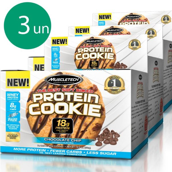 Kit 3 Protein Cookies Biscoitos proteicos da Muscletech Chocolate Chip