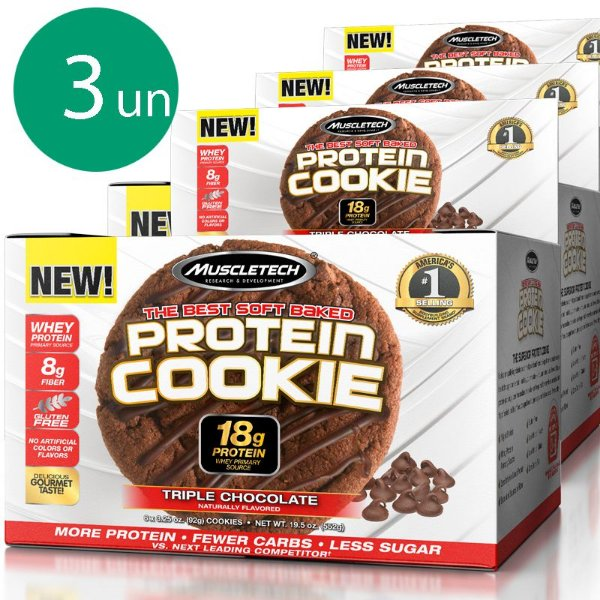 Kit 3 Protein Cookies biscoito proteico Muscletech Triple Chocolate