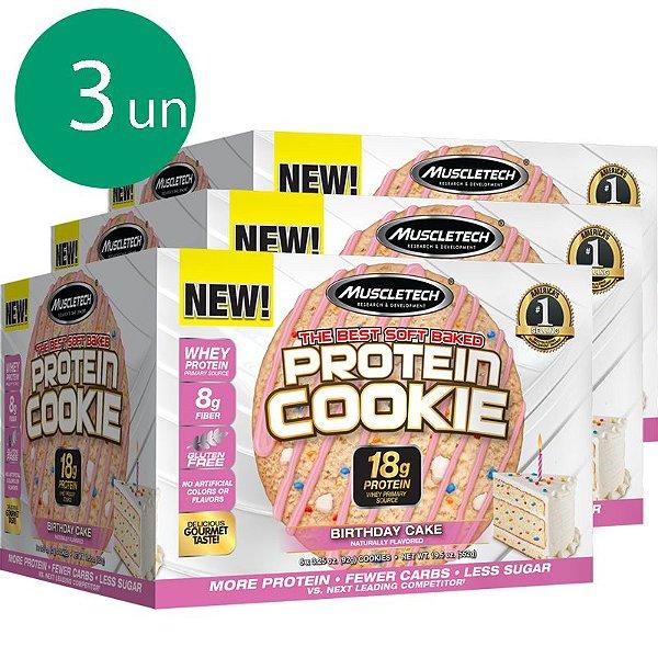Kit 3 Protein Cookies biscoito proteico Muscletech Birthday Cake