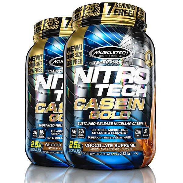 Kit 2 Nitro tech Caseina Gold Muscletech 1,1kg Chocolate Supreme