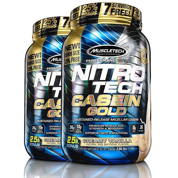 Kit 2 Nitro tech Caseina Gold Muscletech 1,1kg creme de baunilha