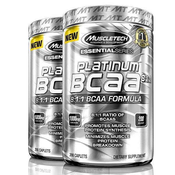 Kit 2 Platinum Bcaa 8:1:1 de 1000 mg 200 tablets Muscletech