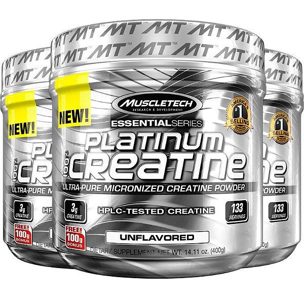 Kit 3 Platinum Creatina 100% pura da Muscletech 400g
