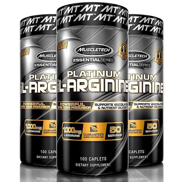 Kit 3 Platinum L-Arginine 100% Arginina 100 tablets Muscletech
